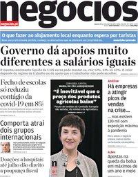 capa Jornal de Negócios de 11 maio 2020