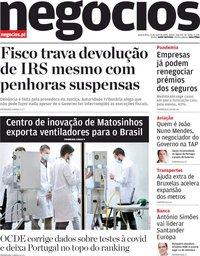 capa Jornal de Negócios de 13 maio 2020