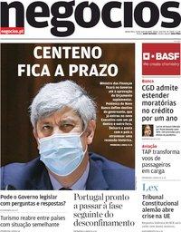 capa Jornal de Negócios de 14 maio 2020