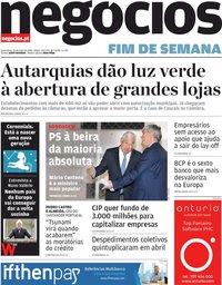 capa Jornal de Negócios de 15 maio 2020