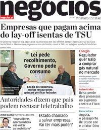 capa Jornal de Negócios de 19 maio 2020