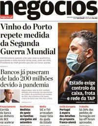 capa Jornal de Negócios de 20 maio 2020