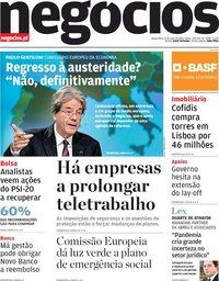 capa Jornal de Negócios de 21 maio 2020