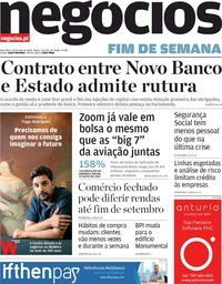 capa Jornal de Negócios de 22 maio 2020