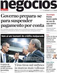 capa Jornal de Negócios de 26 maio 2020