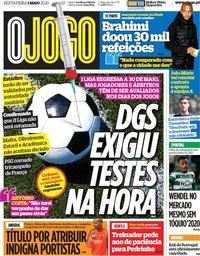 capa Jornal O Jogo de 1 maio 2020