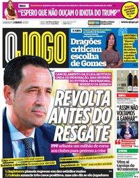 capa Jornal O Jogo de 2 maio 2020