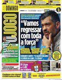capa Jornal O Jogo de 3 maio 2020