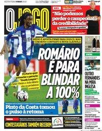 capa Jornal O Jogo de 8 maio 2020