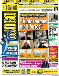 capa Jornal O Jogo de 10 maio 2020