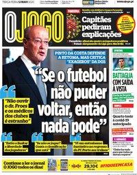 capa Jornal O Jogo de 12 maio 2020