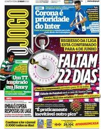 capa Jornal O Jogo de 13 maio 2020