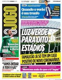 capa Jornal O Jogo de 14 maio 2020