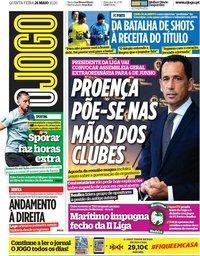capa Jornal O Jogo de 21 maio 2020
