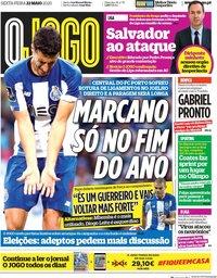 capa Jornal O Jogo de 22 maio 2020