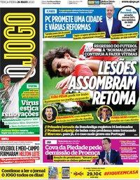 capa Jornal O Jogo de 26 maio 2020