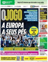 capa Jornal O Jogo de 27 maio 2020
