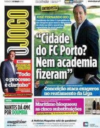 capa Jornal O Jogo de 30 maio 2020
