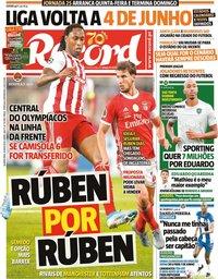 capa Jornal Record de 13 maio 2020