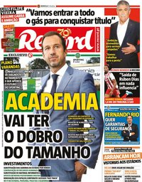 capa Jornal Record de 14 maio 2020