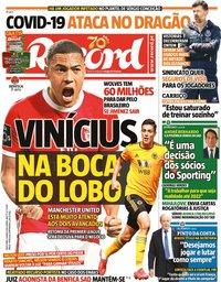 capa Jornal Record de 15 maio 2020