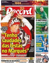 capa Jornal Record de 18 maio 2020