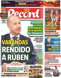 capa Jornal Record de 19 maio 2020
