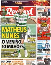 capa Jornal Record de 20 maio 2020