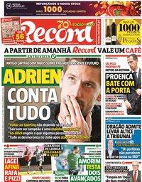 capa Jornal Record de 24 maio 2020