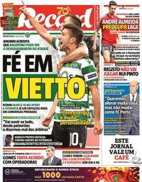 capa Jornal Record de 28 maio 2020