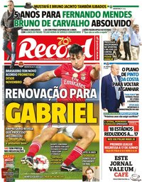 capa Jornal Record de 29 maio 2020