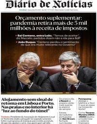 capa Diário de Notícias de 10 junho 2020