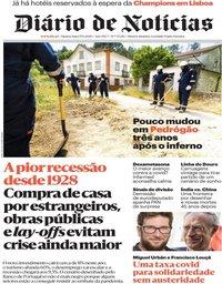 capa Diário de Notícias de 17 junho 2020