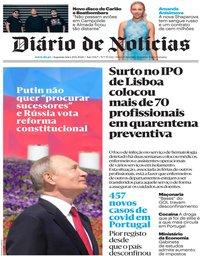 capa Diário de Notícias de 29 junho 2020