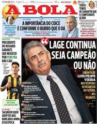 capa Jornal A Bola de 2 junho 2020