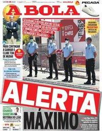 capa Jornal A Bola de 6 junho 2020