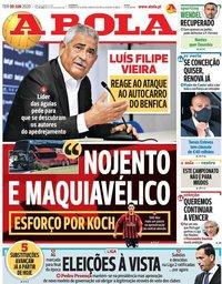 capa Jornal A Bola de 9 junho 2020