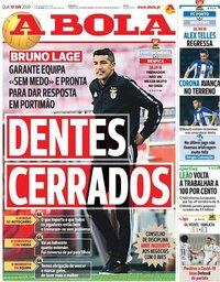 capa Jornal A Bola de 10 junho 2020