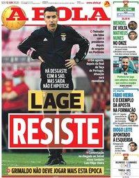capa Jornal A Bola de 12 junho 2020