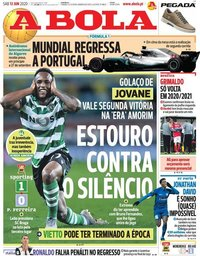 capa Jornal A Bola de 13 junho 2020