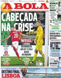 capa Jornal A Bola de 18 junho 2020