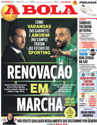 capa Jornal A Bola de 20 junho 2020