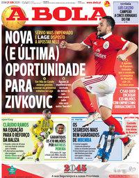 capa Jornal A Bola de 21 junho 2020