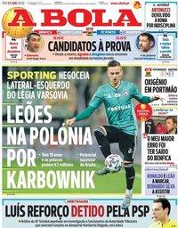 capa Jornal A Bola de 23 junho 2020