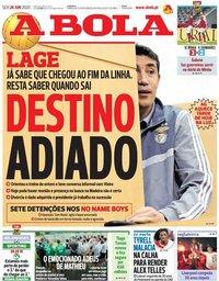 capa Jornal A Bola de 26 junho 2020