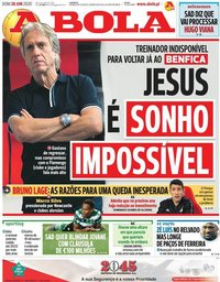 capa Jornal A Bola de 28 junho 2020