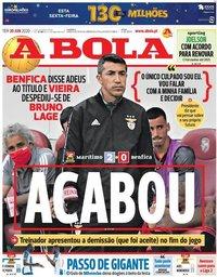 capa Jornal A Bola de 30 junho 2020