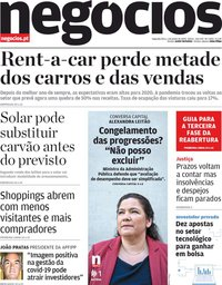 capa Jornal de Negócios de 1 junho 2020