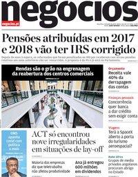 capa Jornal de Negócios de 2 junho 2020
