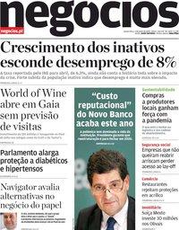 capa Jornal de Negócios de 3 junho 2020